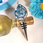 Murano Glass Wine Stoppers - Teardrop Teal and Gold