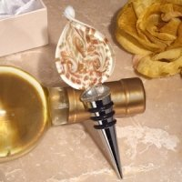 Stunning Murano Gold and White Bottle Stopper