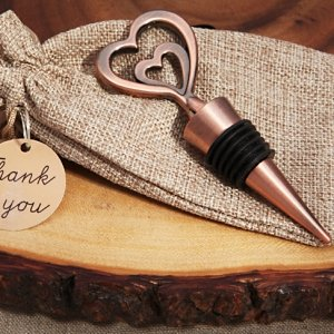 Two Hearts Vintage Inspired Copper Bottle Stopper image