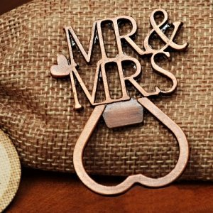 Copper Elegance Mr and Mrs Bottle Opener image