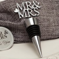 Silver Elegance Mr and Mrs Bottle Stopper