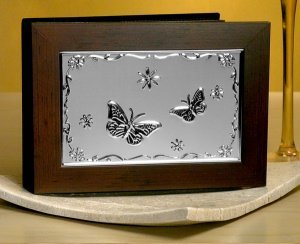 Photo Album with Wood Cover and Embossed Butterfly Design image
