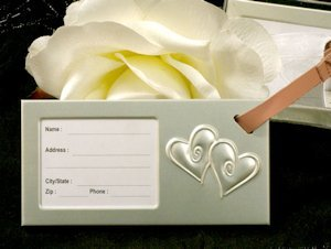 Luggage Tag Wedding Favors - Two Hearts Beating As One image