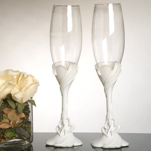 Two Hearts Toasting Flutes image