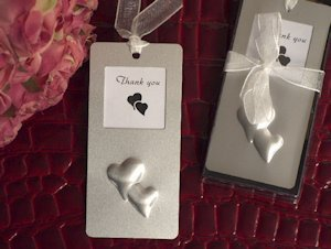 Double Hearts Photo Frame Bookmark Favor image