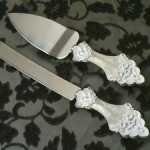 Elegant Lace Cake and Knife Server