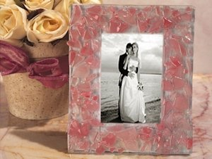 Pink Pebble Design Art Deco Photo Frame Favors image