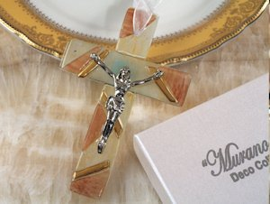 Art Deco Brown and Gold Glass Cross Favors image