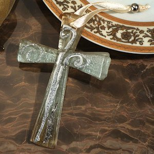 Amber and Silver Glass Murano Style Keepsake Cross image