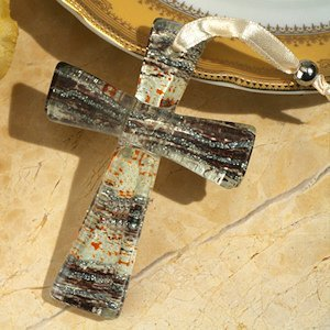 Brown and Silver Glass Wave Murano Style Keepsake Cross image