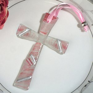 Pink and Silver Art Deco Keepsake Cross Favor image