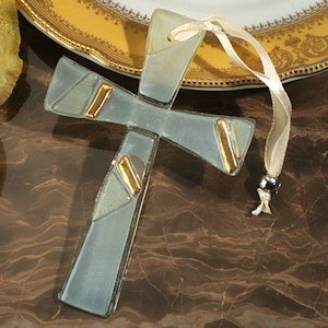 Gold and White Art Deco Keepsake Cross Favor image