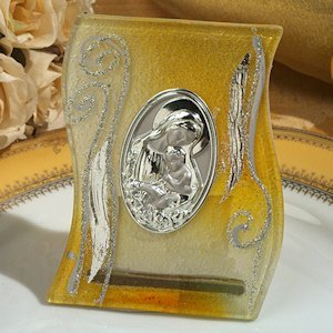 Golden Yellow Mary and Baby Glass Icon Favor image