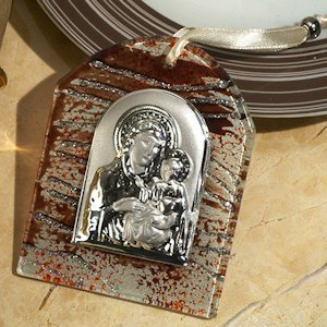 Brown and Silver Hanging Glass Religious Icon Favor image