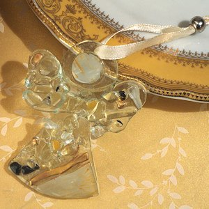 Art Deco Golden Glass Angel Ornament Favor image