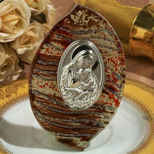 Brown and Silver Standing Glass Religious Icon Favor image