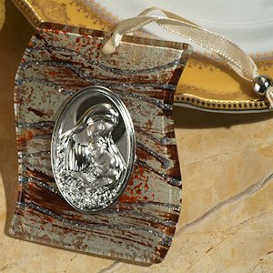 Brown and Silver Glass Hanging Religious Icon Favor image