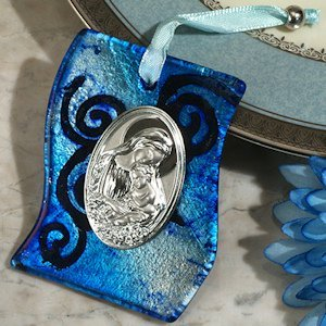 Silver and Blue Swirl Hanging Glass Religious Icon Favor image