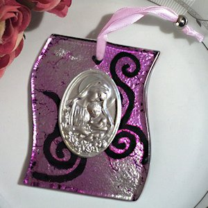 Silver and Lilac Swirl Hanging Glass Religious Icon Favor image