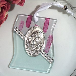 Pink and White Glass Hanging Religious Icon Favor image