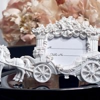 Wedding Coach White Finish Place Card Frame