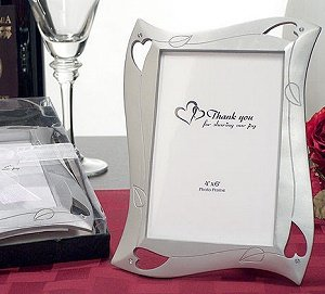Silver Color Heart Picture Frame Wedding Favor image