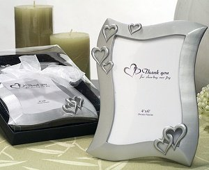 Heart Design 4x6 Silver Color Picture Frame Favors image