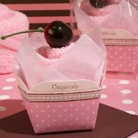 Cherry Topped Pink Cupcake Towel Favor