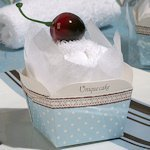 Cherry Topped Blue and White Cupcake Towel Favor