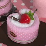 Strawberry Heart Shape Cupcake Towel Favor