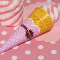 Strawberry Swirl Ice Cream Cone Towel Favor
