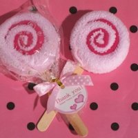 Sweet Treats Pink Lollipop Towel Favor
