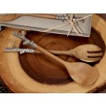 Rustic Chrome Branch Bamboo Salad Server Set