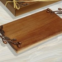 Bronze Leaf Acacia Rectangular Wood Cutting Board