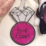 First Class Glitter Luggage Tag
