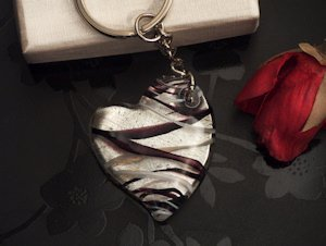 Art Deco Black and Silver Heart Keychain Favors image