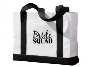 Bride Squad Design Black and White Tote Bag image