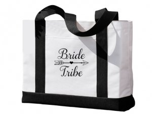 Bride Tribe Design Black and White Tote Bag image