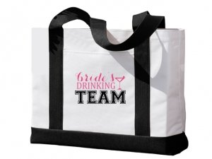 Brides Drinking Team Black and White Tote Bag image