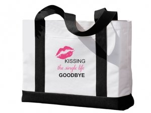 Kissing The Single Life Goodbye Black and White Tote Bag image