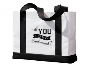 Will You Be My Bridesmaid Banner Black and White Tote Bag image