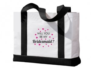 Will You Be My Bridesmaid Hearts Design Black and White Tote image