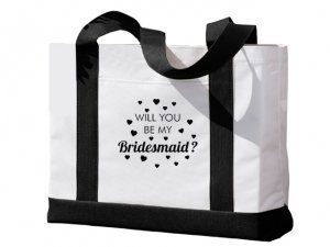 Will You Be My Bridesmaid Heart Design Pink Tote Bag image