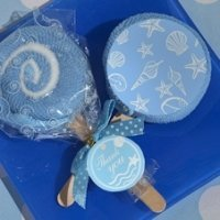 Blue Seashell Designed Lollipop Towel Favor
