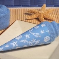 Blue Seashell Designed Ice Cream Towel Favor