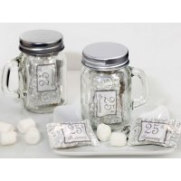 25th Anniversary Mint Candy Favors with Mason Jar