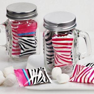 Pink Zebra Mint Candy Favors with Mason Jar image