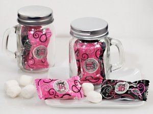 Sweet 16 Mint Candy Favors with Mason Jar image