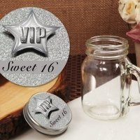 Silver Sweet 16 Vintage Mini Mason Jar Favors