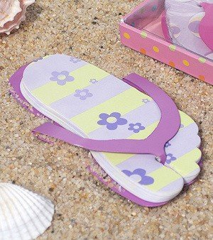 Flip Flop Shaped Note Pad Lavender Color Favors image